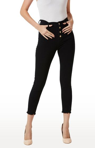 MISS CHASE | Black Solid Cropped Jeans