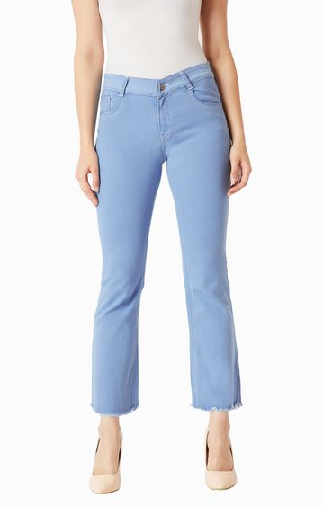 MISS CHASE   Light Blue Solid Straight Jeans