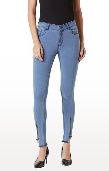 MISS CHASE | Light Blue Solid Tapered Jeans