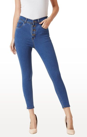 MISS CHASE | Blue Solid Cropped Jeans