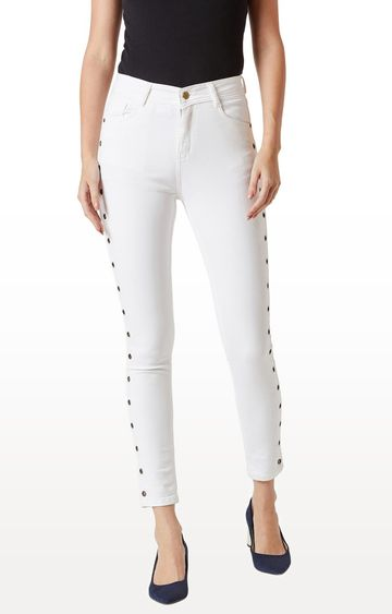 MISS CHASE   White Solid Tapered Jeans
