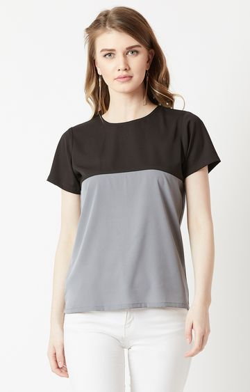 MISS CHASE | Black and Grey Colourblock Top