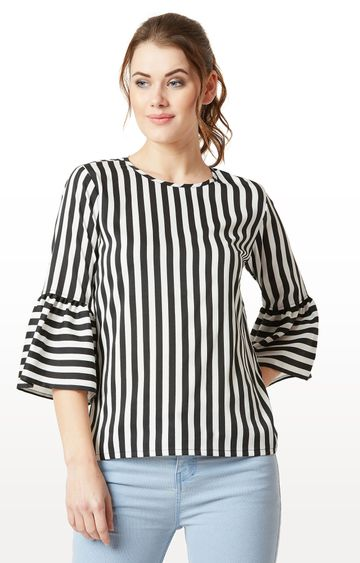 MISS CHASE | Black and White Striped Ruffled 3/4th Sleeves Top