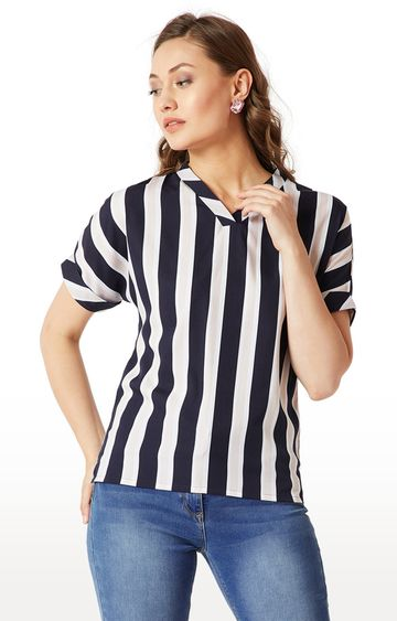 MISS CHASE | Navy and Beige Striped Top