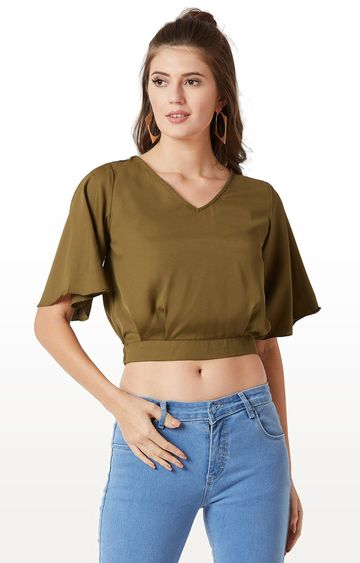 MISS CHASE | Olive Solid Crop Top