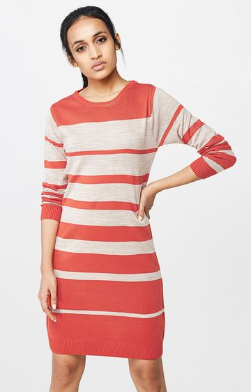 AND | Coral Striped Shift Dress