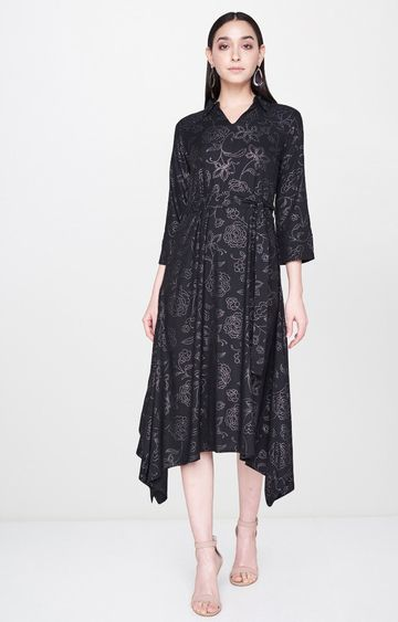 AND | Black Printed Asymmetric Dress