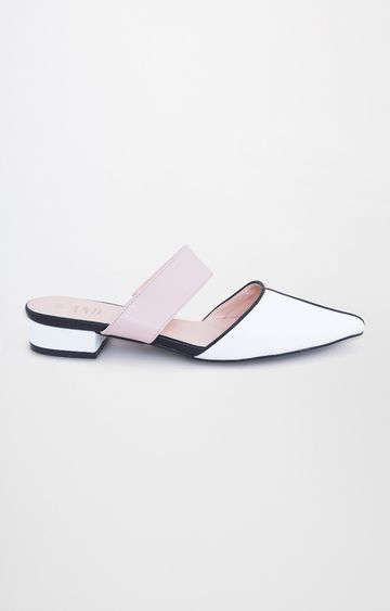 AND | White Block Heels