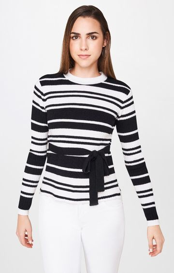AND | Black and White Striped Top
