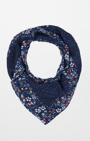 AND | Navy Printed Scarf