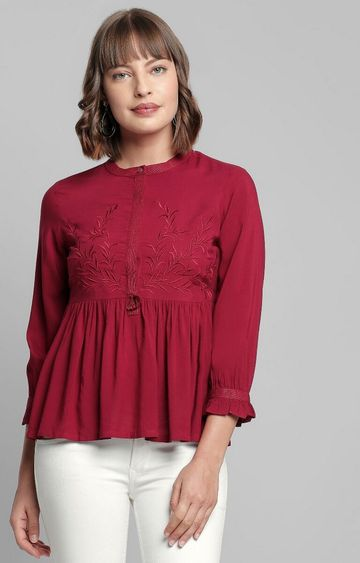 AND | Wine Embroidered Top