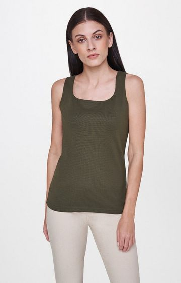 AND | Olive Solid Tank Top