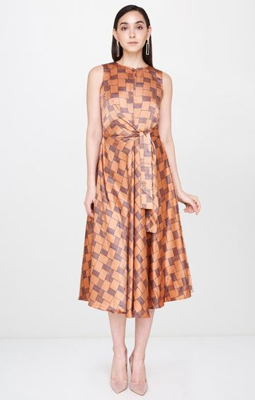 AND | Beige Printed Skater Dress