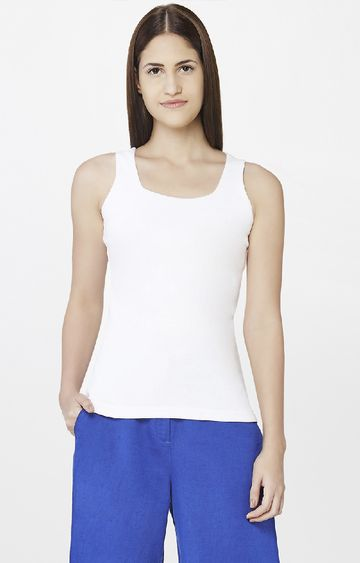 AND | White Solid Tank Top