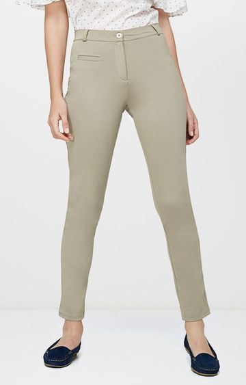 AND | Beige Straight Trousers