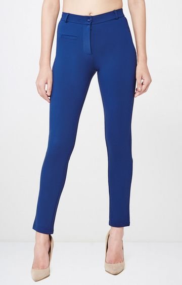 AND | Blue Solid Cropped Trousers