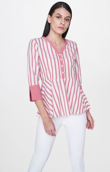 AND | Red Striped Peplum Top