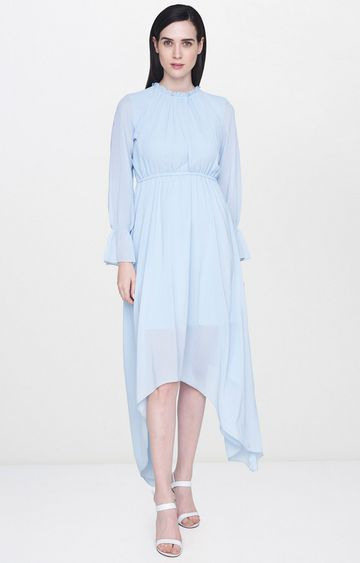 AND | Blue Solid Asymmetric Dress