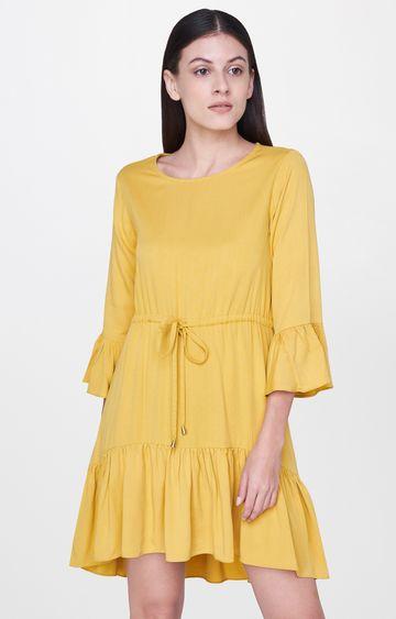 AND | Mustard Solid Peplum Dress