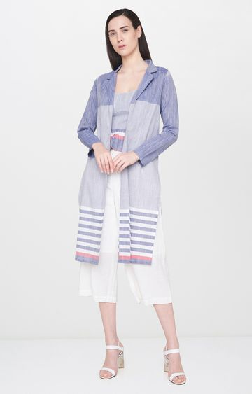 AND | Blue and White Striped Jacket