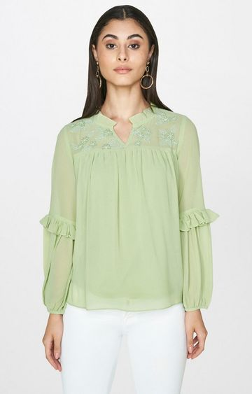 AND | Sage Green Embroidered Top