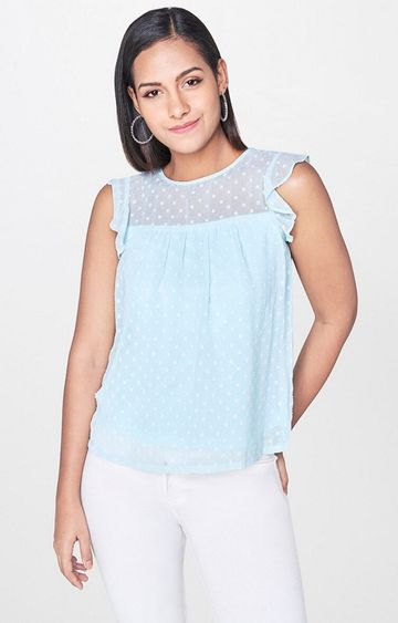 AND | Ice Blue Printed Top