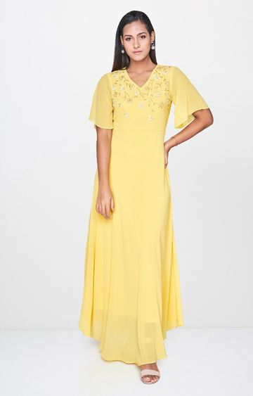 AND | Yellow Embroidered Maxi Dress
