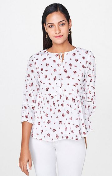 AND | Red Printed Peplum Top