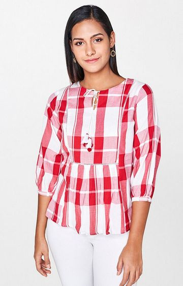 AND | Red Checked Peplum Top