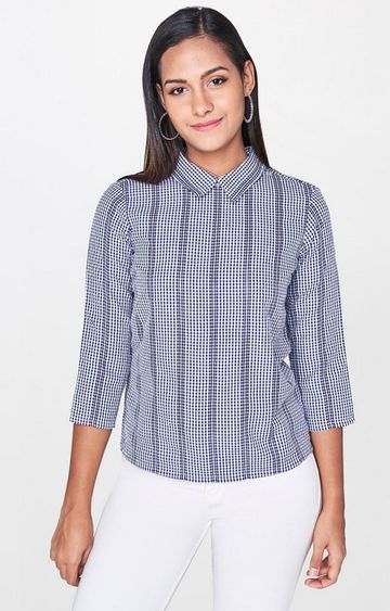 AND | Navy Checked Top