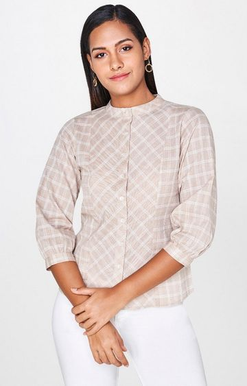 AND | Beige Checked Top