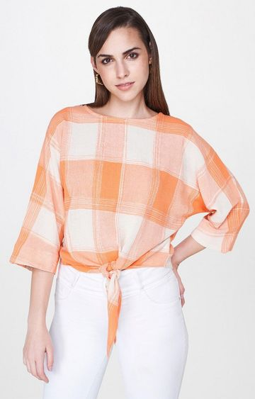 AND | Orange Checked Top