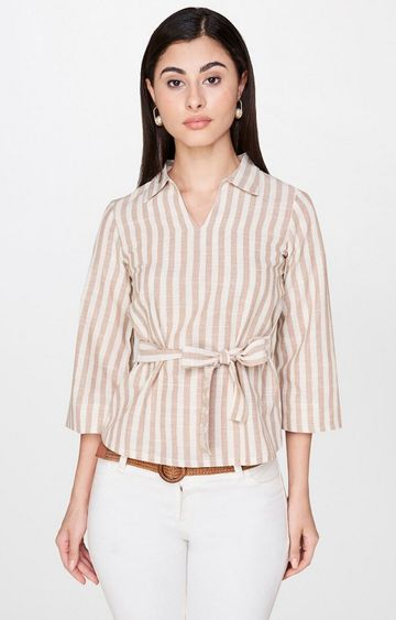 AND | Beige Striped Top