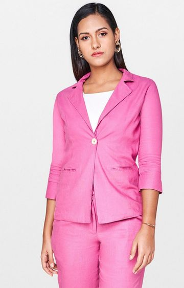 AND | Pink Solid Blazer