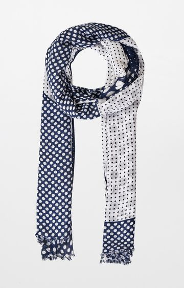 AND   Navy Printed Scarf