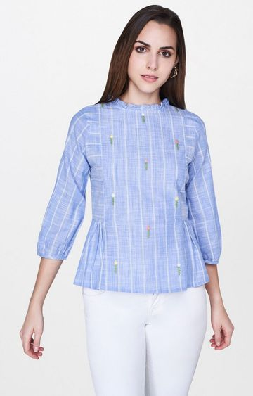 AND   Blue Striped Top