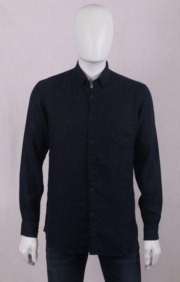 Raymond   Navy Solid Casual Shirt