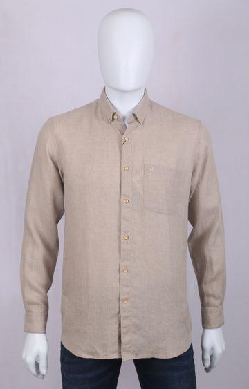 Raymond | Beige Solid Casual Shirt