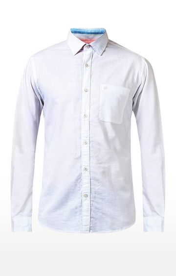 Raymond   White Solid Casual Shirt