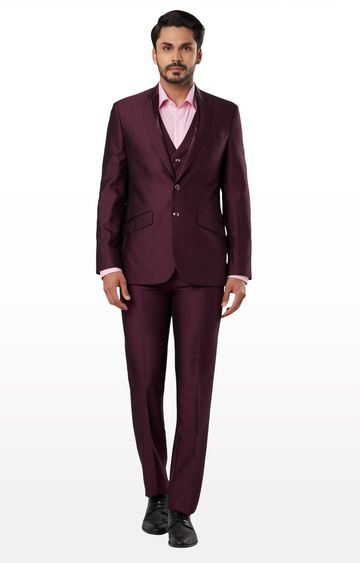 Raymond   Maroon Solid Two Buttoned Suit