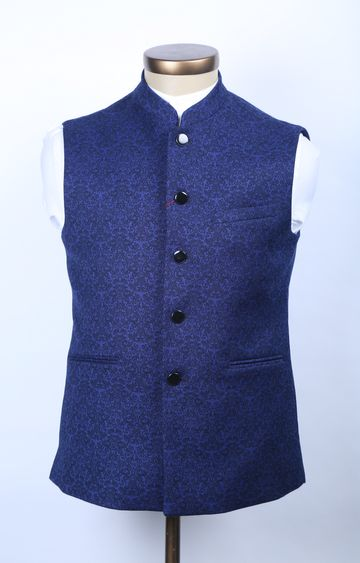 Raymond | Blue Printed Ethnic Jacket