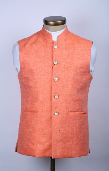 Raymond | Orange Melange Ethnic Jacket