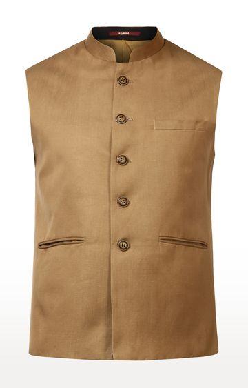 Raymond | Dark Fawn Solid Ethnic Jacket