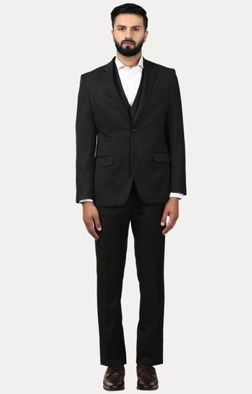 Raymond   Black Solid Two Buttoned Suit