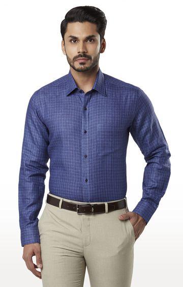 Raymond | Medium Blue Checked Formal Shirt