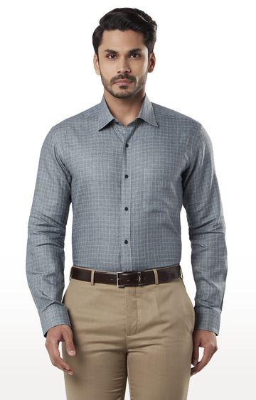 Raymond   Medium Grey Checked Formal Shirt