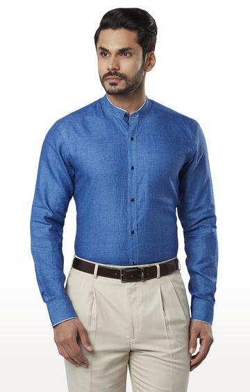 Raymond | Medium Blue Melange Formal Shirt