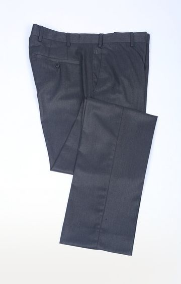Raymond | Grey Flat Front Formal Trousers