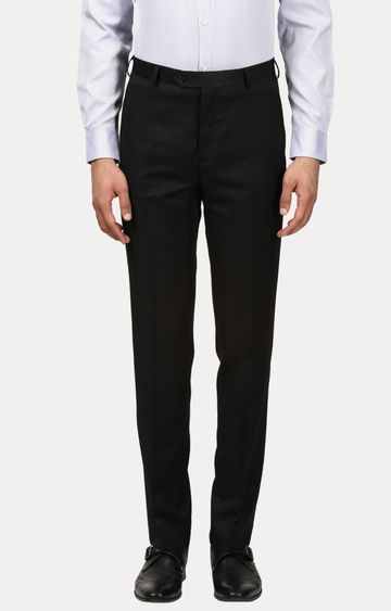 Raymond | Black Flat Front Formal Trousers