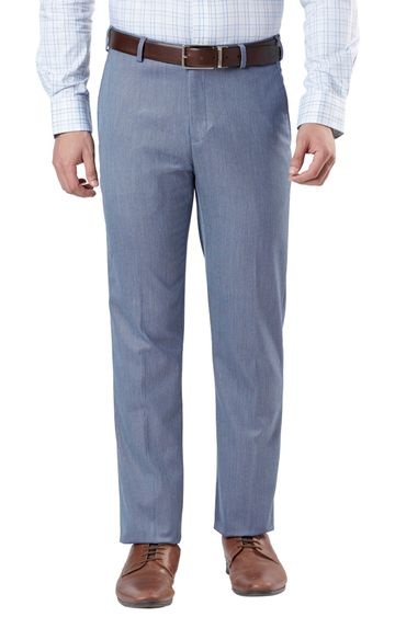 Raymond | Blue Flat Front Contemporary Fit Formal Trousers